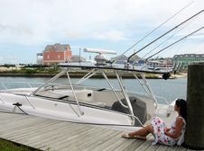 Free The Girl By The Boat Stock Images - 5849874