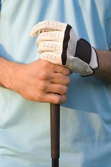 Free Man Grasping Golf Club - Vertical Royalty Free Stock Photography - 5849917