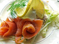 Free Plate With Fresh Smoked Salmon Stock Photography - 5854742