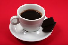 Free Coffee On Red Background With Chocolate Royalty Free Stock Photos - 5850078