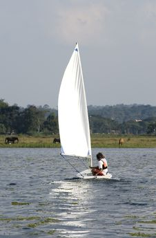 Free Couple Sailing Across Lake - Vertical Royalty Free Stock Photo - 5850265