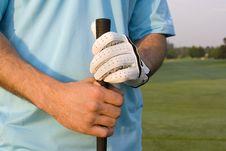 Free Man Grasping Golf Club - Horizontal Stock Photography - 5850602