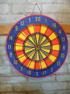 Free Dartboard On Brick Wall - Horizontal Stock Photography - 5850642