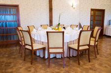 Free Round Banquet Table In Brown Stock Photo - 5851250