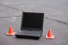 Free Caution: Laptop Working Stock Photo - 5852640