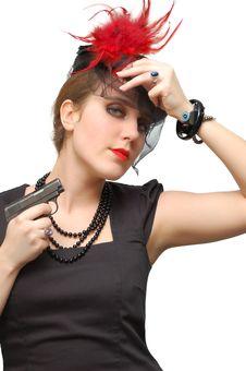 Free Beautiful Girl With Gun Royalty Free Stock Image - 5852746