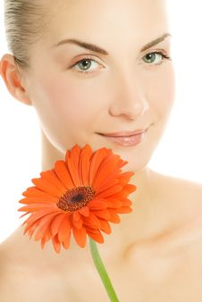 Free Woman With Gerber Flower Stock Images - 5853964