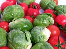 Fresh Organic Sprouts And Tomatoes Royalty Free Stock Photos