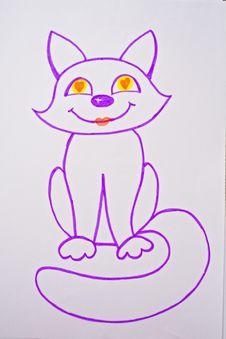 Free Bright Drawn Kitten Stock Image - 5854731