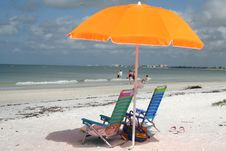 Free Bright Umbrella And Sun Chairs On The  Beach Royalty Free Stock Photo - 5856195