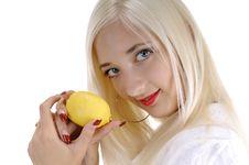 Free Happy Beautiful Woman With Lemon Stock Image - 5856281
