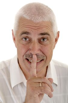 Free Senior Man With Silence Gesture Royalty Free Stock Photography - 5856307