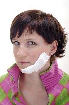 Free Young Woman With Foam On Face Royalty Free Stock Image - 5856366