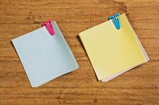 Free Two Post It With Plastic Clip Stock Photography - 5857122