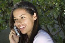 Free Young Girl Smiling On The Phone Stock Images - 5858604