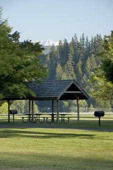 Picnic Shelter Under Mount Rainier Royalty Free Stock Photos