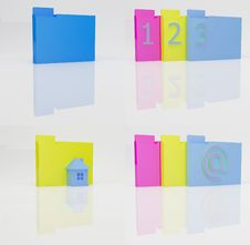 Free Color Folders With Reflection Stock Photo - 5859360
