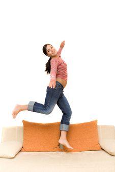 Free Jumping Woman Royalty Free Stock Image - 5859756