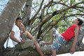 Free Two Man Enjoy On Tree Royalty Free Stock Images - 5861449