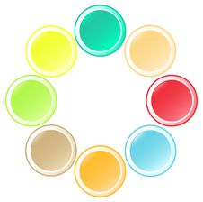 Set Of  Beautiful Round Buttons In Unusual Colors Stock Images