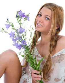 Free Woman With Flowers On White Stock Photo - 5863020
