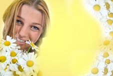 Free Woman With Flowers On White Stock Images - 5863024