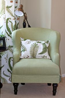 Comfy Green Chair And Pillow