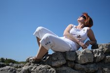 Free Woman On Stone Wall Stock Photos - 5863323