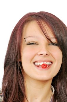 Free Smiling Girl Shows Raspberry In Mouth Stock Images - 5863474