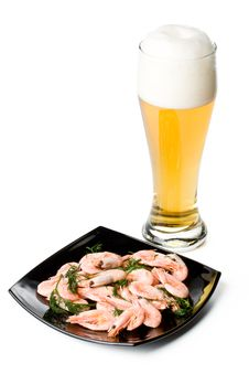 Beer In A Glass And A Dish With Shrimps Royalty Free Stock Images