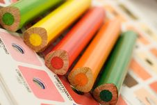 Cmyk Color Bars With Colour Pencils Stock Photos