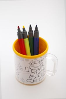 Markers In The Mug Stock Images