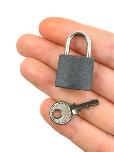 Free Lock And Key On Hand Stock Photo - 5870870