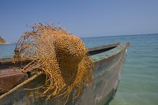 Free Fishing Boat With Large Hat Stock Images - 5871684