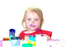 Free Little Girl And Lilac Paint Royalty Free Stock Photo - 5872855