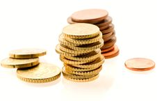 Free Piles Of European Coins Over White Stock Photography - 5873772