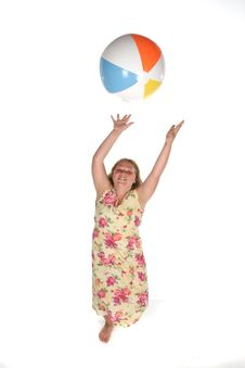 Free Heavy Girl Catching A Beach Ball Royalty Free Stock Photo - 5874315