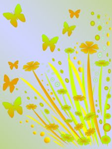 Floral And Butterfly Background Stock Image