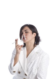 Free Attractive Young Latina With Cigarettes Royalty Free Stock Images - 5875489