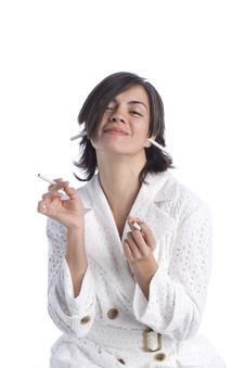 Free Attractive Young Latina With Cigarettes Stock Images - 5875504