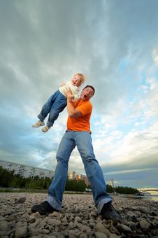 Father And Child Outdoor Royalty Free Stock Photography