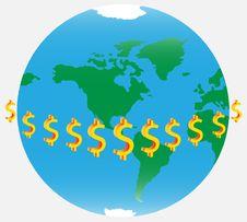 Globe And Dollars Royalty Free Stock Photos