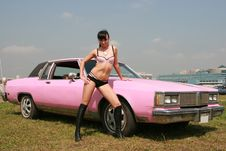 Free Fine Woman And Pink Car Stock Photography - 5877572