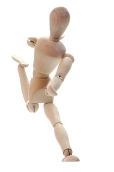 Wooden Man Running Royalty Free Stock Photography
