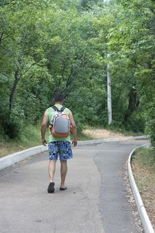 Men Walking In Park Royalty Free Stock Photos