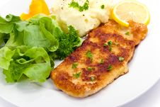 Free Breaded Pork Chop With Lettuce Stock Image - 5879831