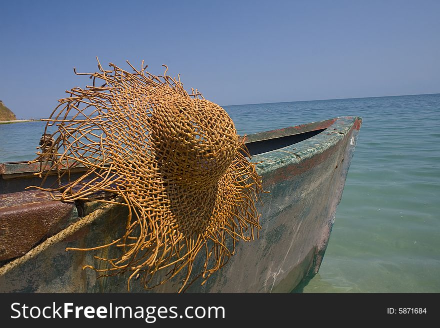Fishing boat with large hat