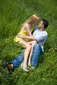 Free Attractive Couple Together On Meadow Stock Photos - 5880073