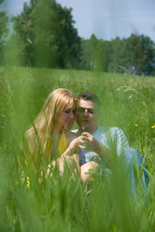 Free Attractive Couple Together On Meadow Royalty Free Stock Photo - 5880075