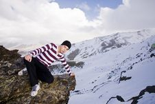 Free Young Model Posing At High Altitude Royalty Free Stock Image - 5883146